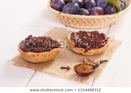 erik · reçel · ekmek · ahşap · gıda - stok fotoğraf © m-studio