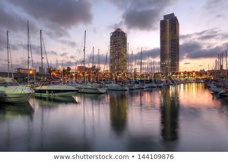 Port Olimpic Marina at Night in Barcelona Stock photo © rognar