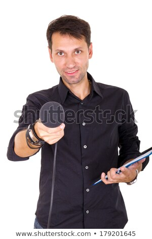 handsome man doing interview with notes and microphone Stock photo © feelphotoart