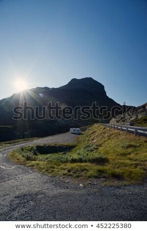 太陽 道路 山 高原 雪 ストックフォト © slunicko