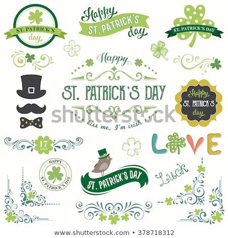 Shamrock szimbólum szent nap szalag eps10 Stock fotó © LoopAll