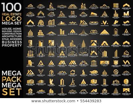 Stok fotoğraf: Ayarlamak · logolar · soyut · hatları · inşaat · posta