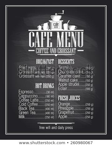 restaurant · menu · Blackboard · geschreven · vis · frame - stockfoto © stevanovicigor