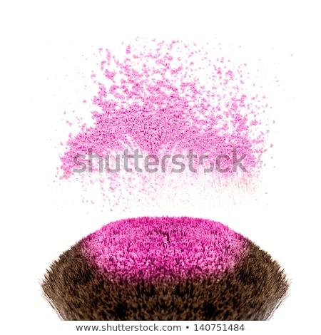 Cosmetics rouge and brush isolated on white Stock photo © tetkoren