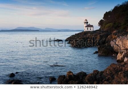 Lime Kiln Lighthouse Haro Strait Maritime Nautical Beacon Stock photo © cboswell