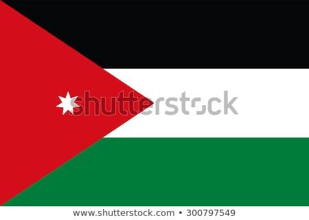 флаг · Иордания · черно · белые · зеленый · горизонтальный - Сток-фото © kiddaikiddee