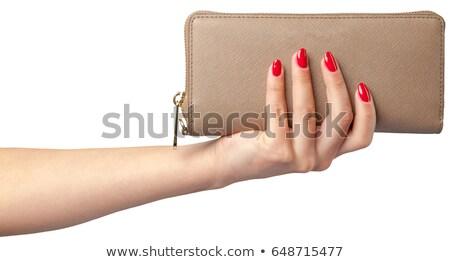 Közelkép üzletember kezek tart nyitva pénztárca Stock fotó © dolgachov