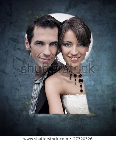 Noiva noivo buraco de fechadura ilustração mulher flor Foto stock © adrenalina