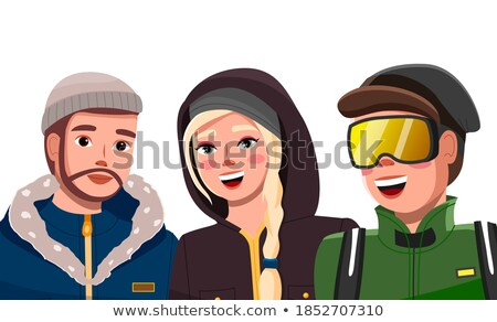 Smiling woman in warm hat and jacket with hood  Stock photo © deandrobot