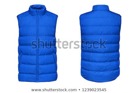 Blauw lang bleek brunette poeder meisje Stockfoto © disorderly