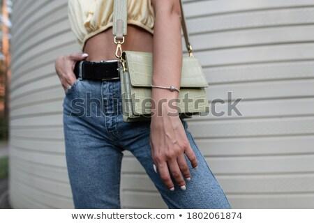 Jeans gordel modieus denim leder mode Stockfoto © IvicaNS
