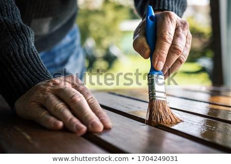 Competenze tavolo in legno parola ufficio clock lavoro Foto d'archivio © fuzzbones0