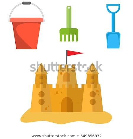 areia · branca · castelo · branco · ilustração · mar - foto stock © bluering