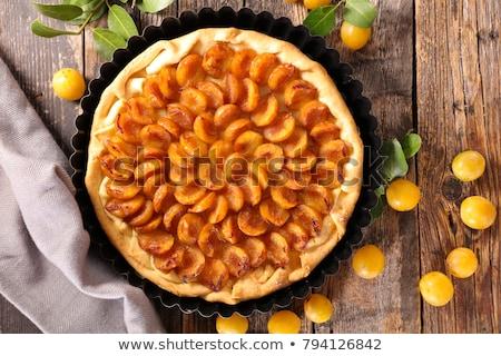 pruim · taart · hout · vruchten · achtergrond · taart - stockfoto © m-studio