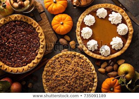 Stockfoto: Pumpkin Pie Tart With Whipped Cream On A Plate