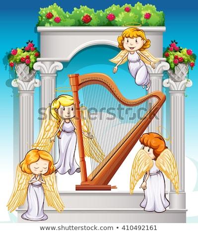 Angel flying around harp in heaven Stock photo © bluering