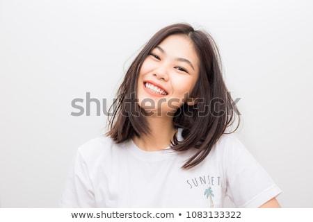 Chinês menina belo marrom suéter cabelo Foto stock © disorderly