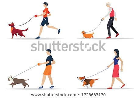 woman walking with dog on lead in park and smiling stock photo © deandrobot