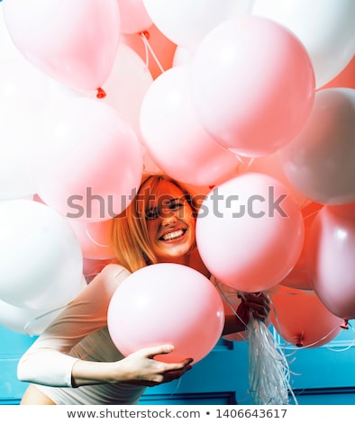 young happy blonde real woman with baloons smiling close up, lifestyle people concept Stock photo © iordani