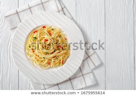 スパゲティ 新鮮な ガーリックブレッド 遅く トマト ストックフォト © vertmedia