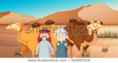 Two arab men and camels in desert land Stock photo © bluering