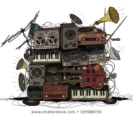 gitár · hangfalak · retro · poszter · stilizált · illusztráció - stock fotó © tracer