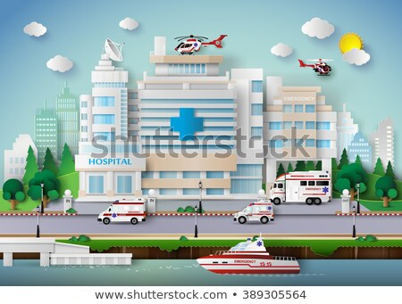 Hospital with ambulance car and helicopter. Stock photo © biv