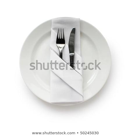 Branco prato talheres guardanapo tabela Foto stock © wavebreak_media