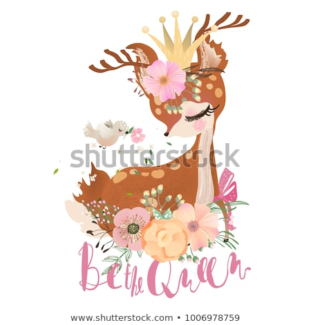 Cute girl with little fawn Stock photo © bluering