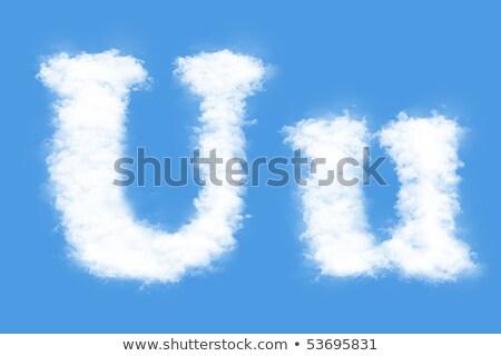 Letter U cloud font symbol. White Alphabet sign on blue sky Stock photo © popaukropa
