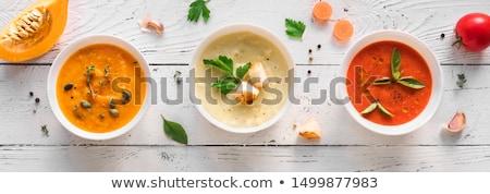 Soupe aux légumes jaune Toast pain alimentaire laisse Photo stock © georgemuresan