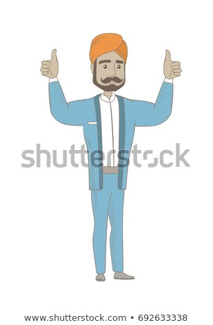 Hindu businessman standing with raised arms up. Stock photo © RAStudio