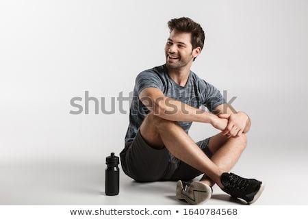 笑みを浮かべて · 男性 · ビルダー · 親指 · アップ - ストックフォト © deandrobot