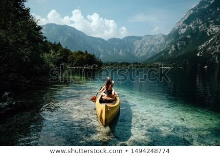 木製 桟橋 湖 公園 雲 木材 ストックフォト © stevanovicigor