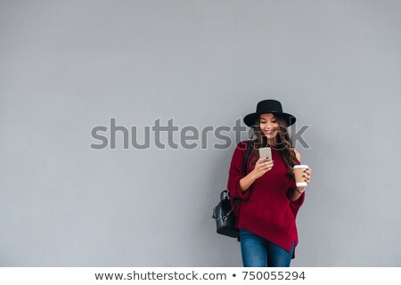Kadın kahve duvar iş gıda Stok fotoğraf © IS2