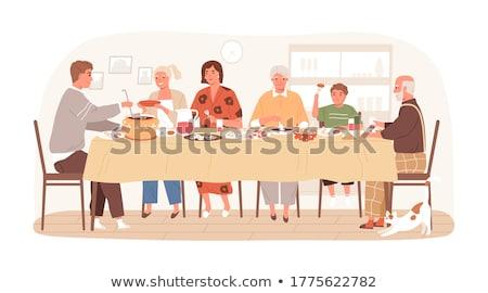 Gente che parla cena alimentare tavola occhiali divertimento Foto d'archivio © IS2