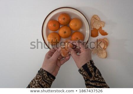 Rodaja de naranja aislado blanco naranja piel Foto stock © digitalr
