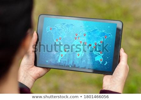 Stockfoto: Reiziger · handen · kaart · vakantie