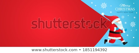 Santa Claus standing with christmas banner - Illustration isolat Stock photo © NikoDzhi