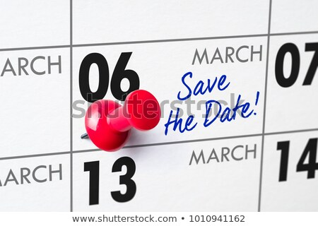 Wall calendar with a red pin - March 06 Stock photo © Zerbor