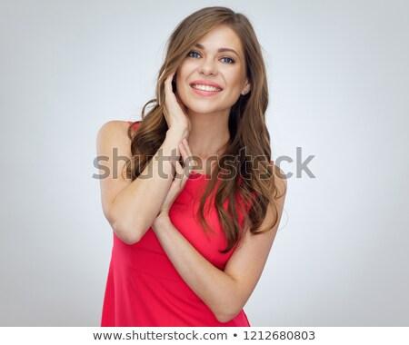 bellezza · indossare · vestito · rosso · alla · moda · giovani - foto d'archivio © konradbak