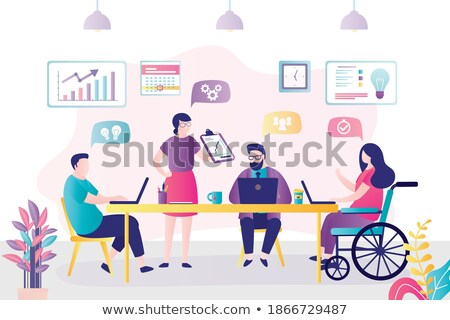 Disabled worker chatting - flat design style illustration Stock photo © Decorwithme
