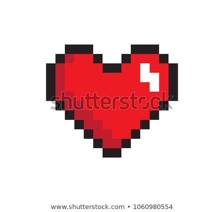 Kalp piksel ikon yalıtılmış beyaz Stok fotoğraf © robuart