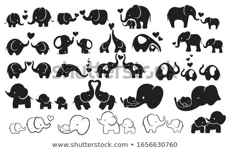 roze · olifant · cute · dier · glimlachend · cartoon - stockfoto © bluering