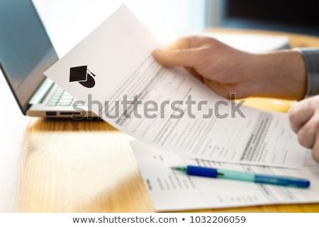 Személy tömés főiskola alkalmazás űrlap közelkép Stock fotó © AndreyPopov