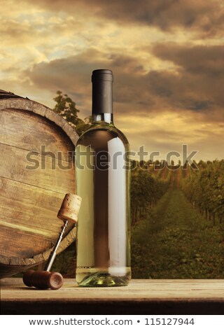 White wine bottle and glass on old barrel Stock photo © Sandralise