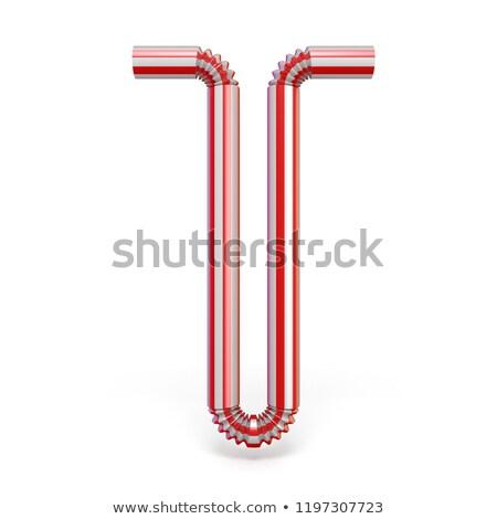 Iszik szalmaszál betűtípus t betű 3D 3d render Stock fotó © djmilic