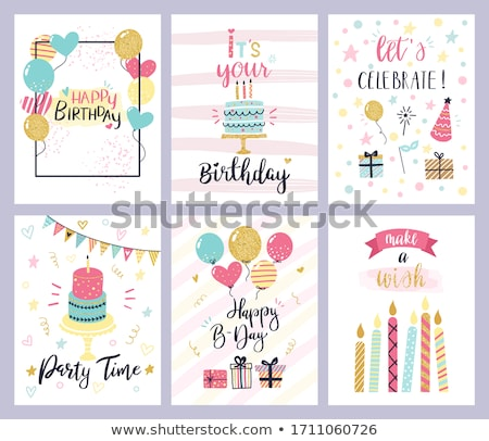 glowing happy birthday postcards with holiday hats stock photo © robuart
