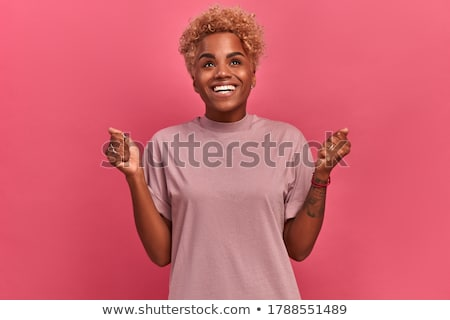 attractive woman with short curly hair stock photo © traimak