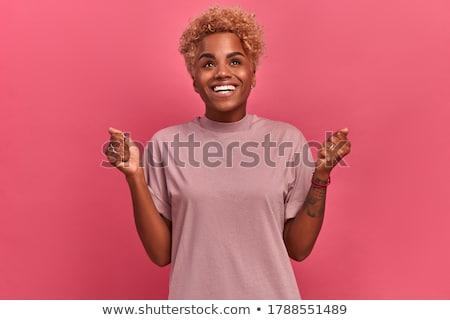 mulher · peruca · cabelos · cacheados · belo · mulher · jovem · sorrir - foto stock © traimak
